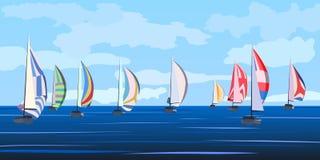 Vector illustration of sailing yacht regatta. Royalty Free Stock Image