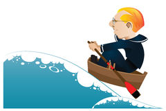 Vector illustration. A sailor in a boat sailing on rough seas Stock Photo