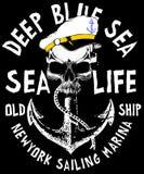 Vector illustration of sailor skull T shirt Graphic Design Stock Photo