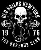Vector illustration of sailor skull T shirt Graphic Design. Fashion style Stock Images