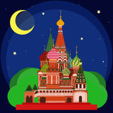 Vector illustration of Sain Basil's Cathedral at Night. Royalty Free Stock Photography