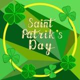 Vector illustration.  Saint Patricks Day  background, frame with shamrock leaves, greeting card Stock Image