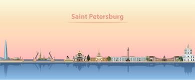 Vector illustration of Saint Petersburg skyline at sunrise Royalty Free Illustration