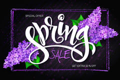 Vector illustration of sale banner with hand lettering label, lilac branches and frame Stock Photography
