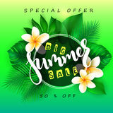 Vector illustration of sale banner with hand lettering text, round frame, tropical leaves - monstera , palm, aralia and Royalty Free Stock Photos