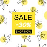 Sale 30 with hand draw banana pattern royalty free illustration