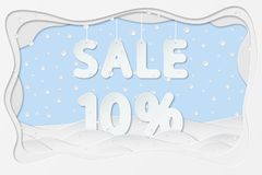 Sale 10 percent text. Vector illustration of sale 10 percent lettering as layered paper cutting art design Royalty Free Stock Photos