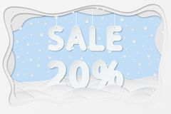 Sale 20 percent text. Vector illustration of sale 20 percent lettering as layered paper cutting art design Stock Images