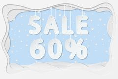 Sale 60 percent text. Vector illustration of sale 60 percent lettering hanging on rope as layered paper cutting art design Royalty Free Stock Photo