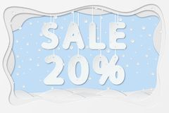 Sale 20 percent text. Vector illustration of sale 20 percent lettering hanging on rope as layered paper cutting art design Royalty Free Stock Photos