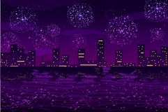 Vector illustration. Salutes and fireworks in night city on the ocean. Vector illustration. Salutes and fireworks in night city Stock Photography