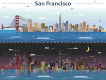 Vector illustration of San Francisco at day and night. Illustration of San Francisco at day and night Stock Image