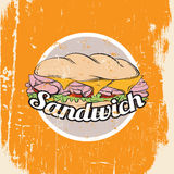 Vector illustration of sandwich. Made in hand drawn realistic style. Colorful artwork in cartoon pop art sketch style. Template for business card poster banner royalty free illustration
