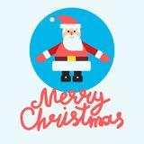 Santa in blue background flat vector card or banner design Stock Photos