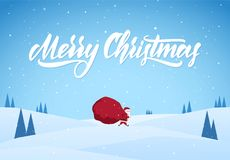 Santa Claus carries a heavy bag full of gifts on winter snowy landscape background. Cartoon scene. Vector illustration: Santa Claus carries a heavy bag full of Stock Photography