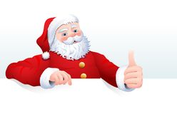 Vector illustration of Santa Claus cartoon character for a blank sign, web header page. Royalty Free Stock Photography