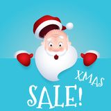 Vector illustration of Santa Claus cartoon character emotion surprise Xmas sale. Royalty Free Stock Image
