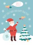 Vector illustration of  Santa Claus. Cartoon Santa Claus on winter background Stock Images