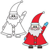 Vector illustration of Santa Claus. Colored and black and white outlined versions Stock Photos