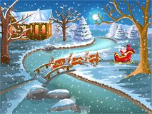 Santa Claus coming on Christmas in his sleigh. Vector illustration of Santa Claus coming on Christmas in his sleigh with his reindeer to bring children lots of Stock Photography