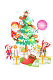 Vector illustration of santa claus enjoying in the Christmas tree with kids - illustration eps10 Stock Image
