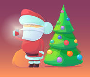 Vector illustration of Santa Claus with firtree. And gifts in the bag. Merry Christmas, New Year and happy holidays. Celebrating with family, finding toys under Royalty Free Stock Photo
