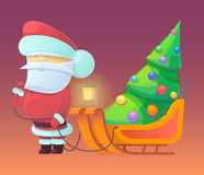 Vector illustration of Santa Claus with firtree on. Sleighs. Merry Christmas, New Year and happy holidays. Celebrating with family, finding toys under christmas Royalty Free Stock Images