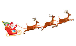 Vector illustration of Santa Claus flying with deer Stock Photography
