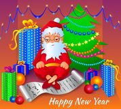 Vector illustration of Santa Claus with a list of orders and gifts. Vector illustration of Santa Claus with a list of orders and gifts on the background of a Stock Photo