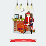 Vector illustration of Santa Claus and little girl making wish. Vector illustration of Santa Claus with little girl sitting on his knees and asking him to Royalty Free Stock Photography