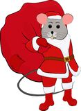 Vector Illustration of Santa Claus mouse carrying big sack Royalty Free Stock Photos