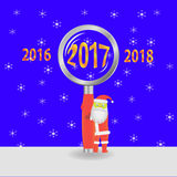 Vector illustration with Santa Claus. New Year vector illustration with Santa Claus and  magnifying glass Stock Images