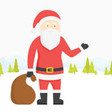 Vector illustration. Santa Claus pulls a heavy bag full of gifts on winter landscape background. Cartoon scene.  Royalty Free Stock Photos