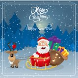 Vector illustration of Santa Claus with reindeer sleigh. Card. Christmas. New year. Inscription. royalty free illustration