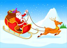 Santa Claus rides reindeer sleigh on Christmas Vector Illustration