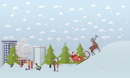 Vector illustration of Santa Claus riding sleigh in flat style. Vector illustration of Santa Claus riding sleigh. People walking in the street, making fireworks Stock Photo
