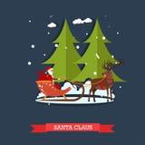 Vector illustration of Santa Claus riding sleigh in flat style. Vector illustration of Santa Claus riding sleigh. It is snowing. Winter landscape. Cartoon Stock Image