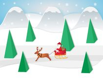 Vector illustration of Santa claus sitting in a sleigh with reindeer vector illustration