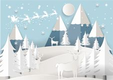 Vector Illustration of Santa Claus on the sky with snowflake, deer and tree, paper art and craft style Royalty Free Stock Image
