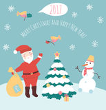 Vector illustration of of Santa Claus and snowman. Happy New year and Merry Christmas card. Xmas banner. Cartoon flat christmas character. Christmas tree and Stock Photo