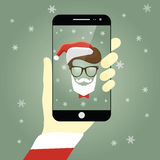 Vector illustration of Santa Claus taking a self snapshot Stock Photo