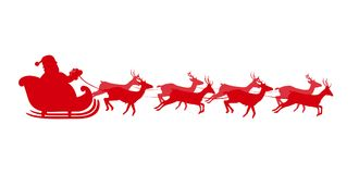 Red silhouette of Santa in sleigh Isolated on white background. Vector illustration of Santa flying in a sleigh with reindeer. Red silhouette of Santa in sleigh Royalty Free Stock Photos