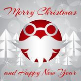Vector illustration. Santa`s glasses and beard on New Year`s background. Royalty Free Stock Photos