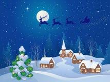 Christmas night scene vector illustration