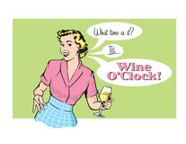 Wine O'Clock Retro Housewife Vector Graphic. Vector illustration of sassy retro woman announcing that it is wine oclock. Vintage 1950s style graphics Stock Image