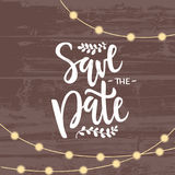 Vector illustration of save the date text with lanterns garland royalty free illustration