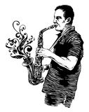 Vector illustration with saxophonist Stock Images