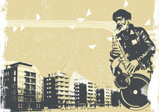 Vector illustration with saxophonist Stock Photo