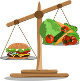 Vector illustration scales with a hamburger and vegetables Royalty Free Stock Photo