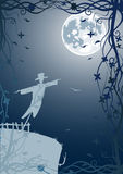 Vector illustration of scarecrow with moon Royalty Free Stock Image